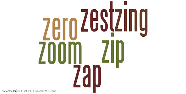 Positive verbs that start with z word cloud