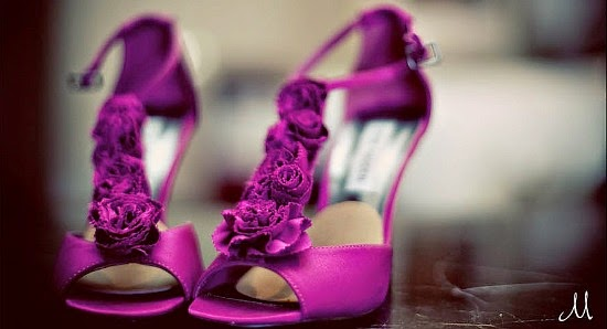 purple wedding shoes for bride