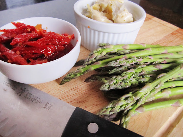 sundried tomato, artichoke, asparagus
