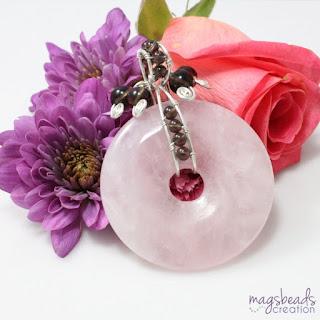 Rose Quartz Donut Pendant by MagsBeadsCreation - magsbeadscreation.com