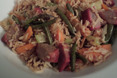 Pork Fried Rice:  Simple fried rice made with leftovers and char siu (Chinese BBQ pork).