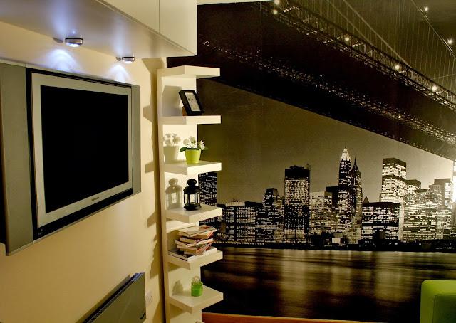 Ikea Homeware, Ikea MALM two drawer side unit, Ikea LACK shelving unit, Ikea BESTA Shelf Unit, New York Wall Mural, Spare Room Decor, Home Decor Ideas