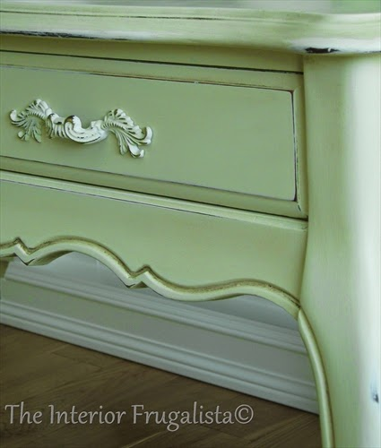 French Provincial Side Table makeover with Vanilla Frosting Chalk Paint and original refinished hardware.