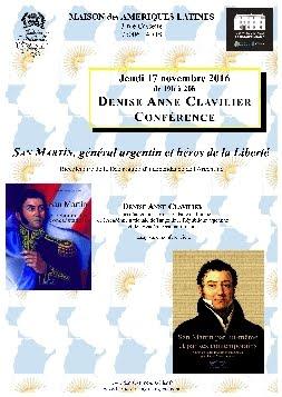 Conférence à Paris, le 17 novembre, sur San Martín (Bicentenaire de l'Argentine)