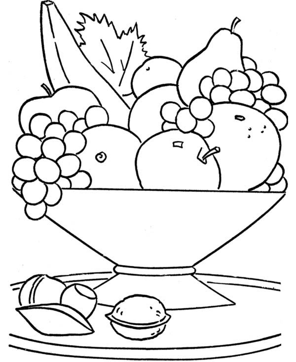 Printable fruits basket coloring Page for kids - Didi coloring Page