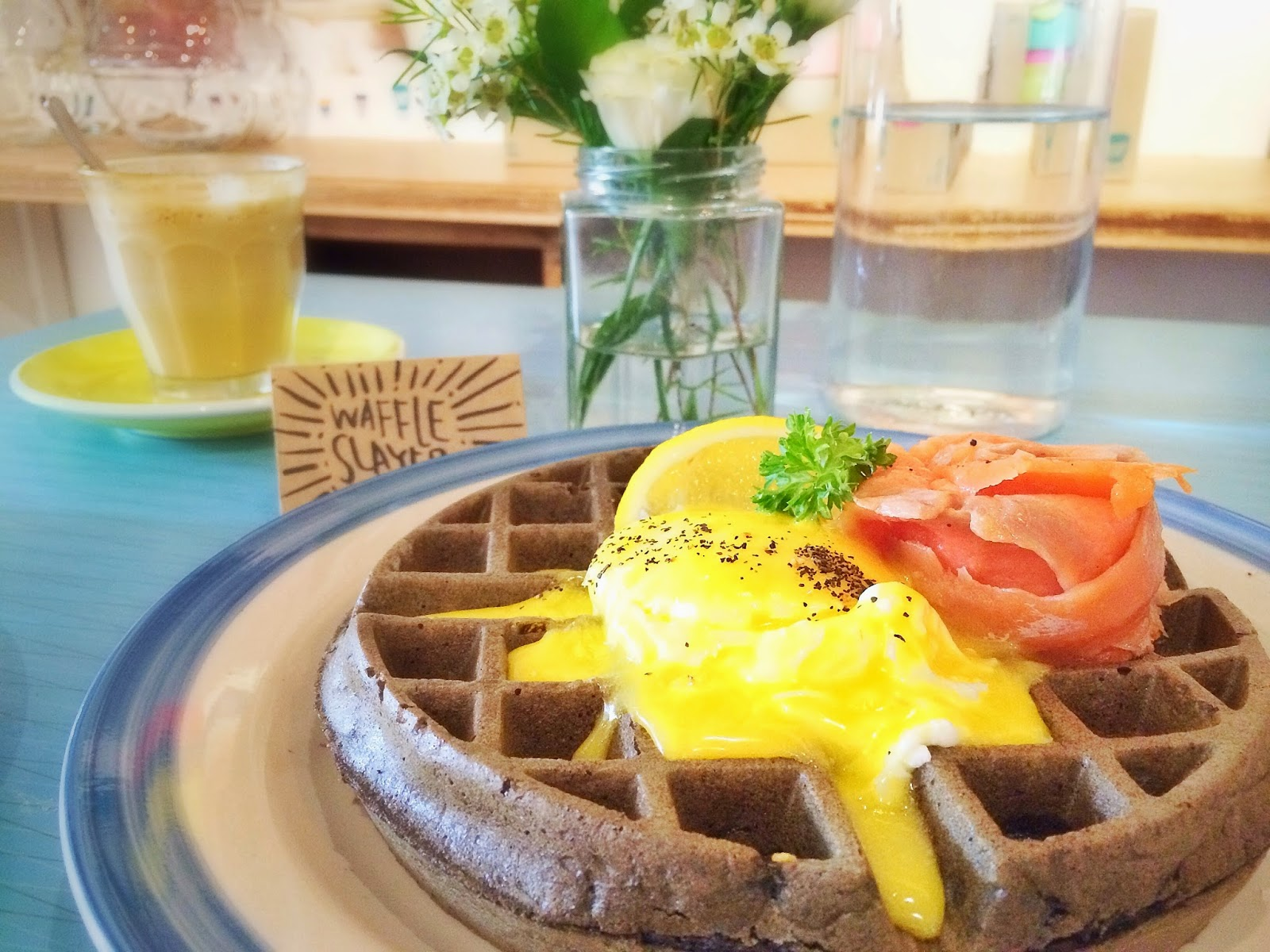 Squid Ink Waffle with Smoked Salmon, Poached Egg & Hollandaise