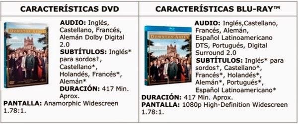 CARACTERÍSTICAS TEMPORADA 4 DOWNTON ABBEY EN DVD Y BLU-RAY