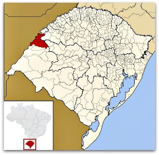 Cidade de São Borja identificada no mapa do Rio Grande do Sul.