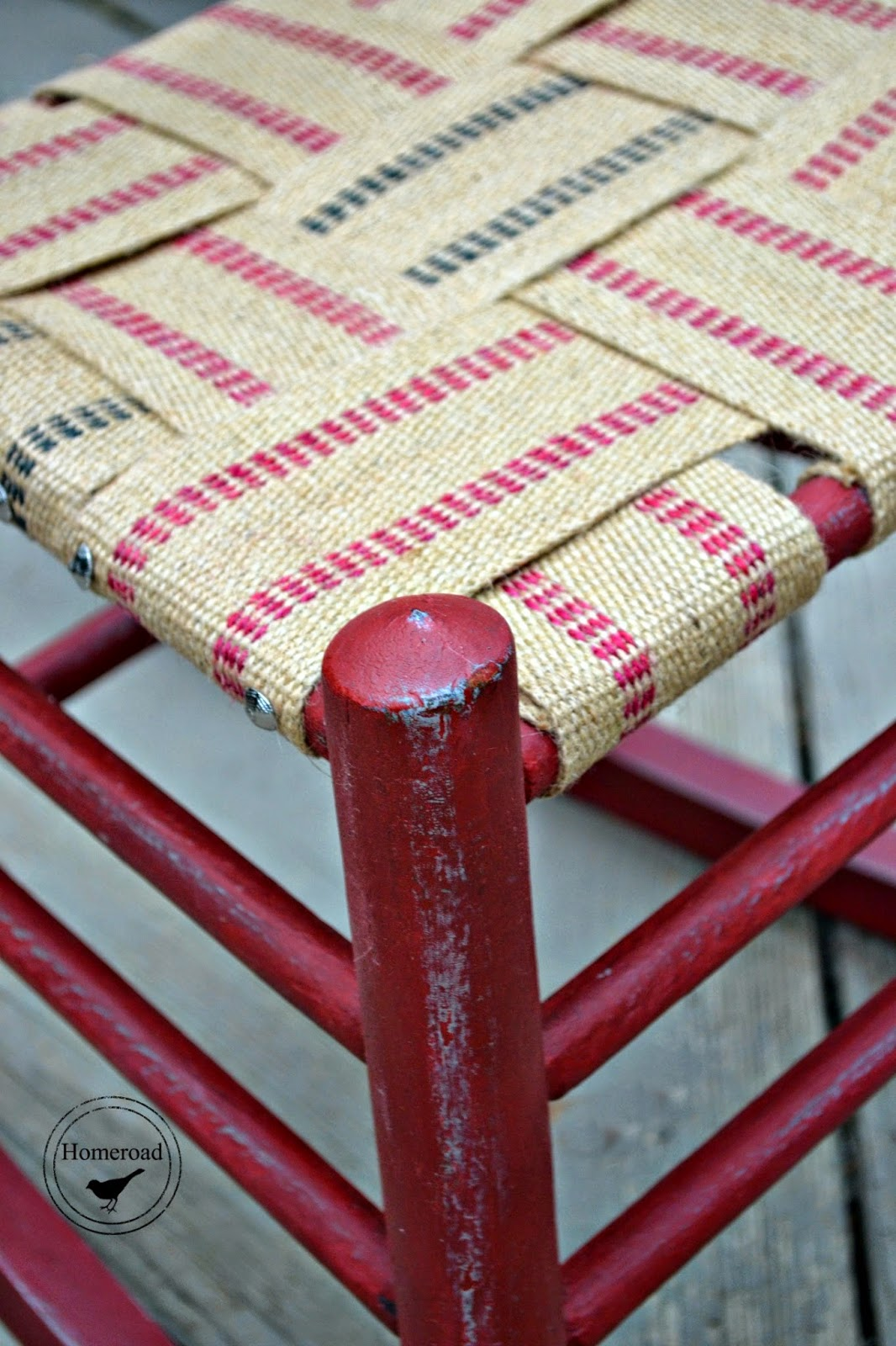 antique rocker with an upholstery webbing seat www.homeroad.net