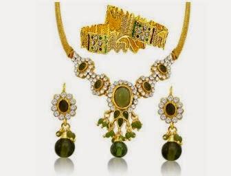 Surat Diamonds: Buy Green Stone Indian Fashion Jewellery Set