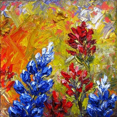 Niki Gulley Textured Bluebonnet Oil Painting Series By