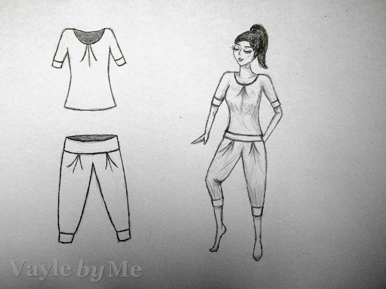 szkic, projekt piżamy