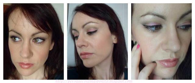 Maquillaje tonos verdes y rosa