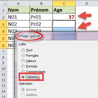 Copier coller validation de données