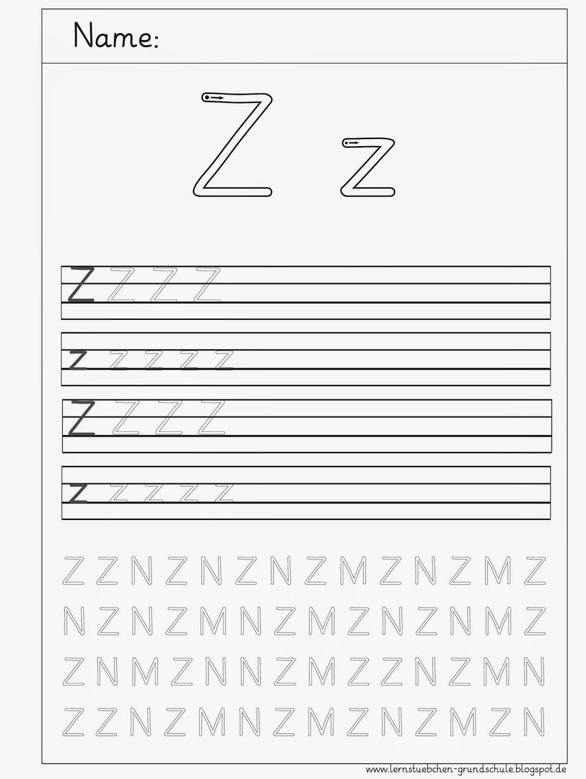 Arbeitsblätter Buchstabe S : Lernstübchen z schreibblätter