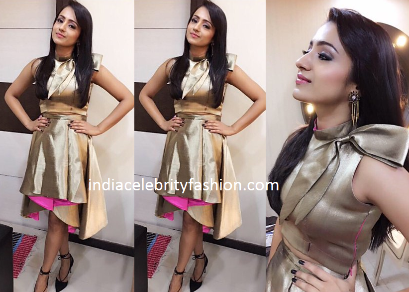 Trisha Krishnan in Sonam Parmar Golden Dress