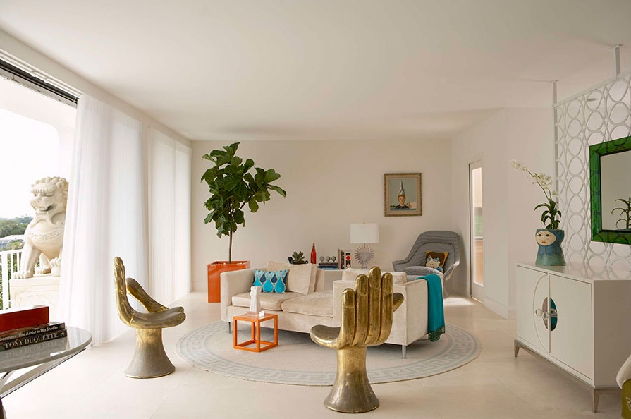 Spotted fiddle leaf fig tree Palm beach interior designers