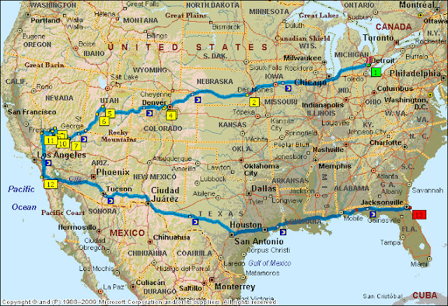 The route from Windsor, Ontario to Mt. Evans to Death Valley, to