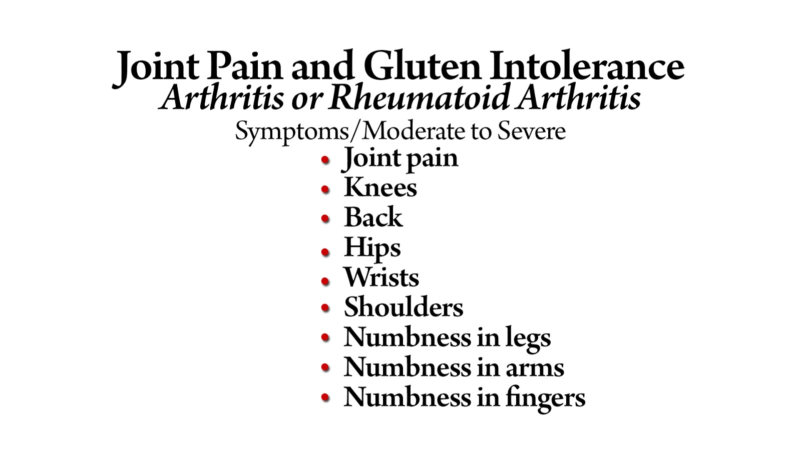 Joint Pain and Gluten Intolerance