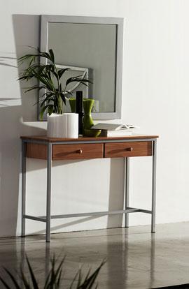 Muebles de forja consolas de forja con cajones en madera for Comoda recibidor