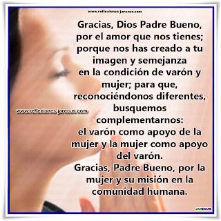 Oración de agradecimiento y petición por la mujer, Oraciones, oración, Oración por la mujer