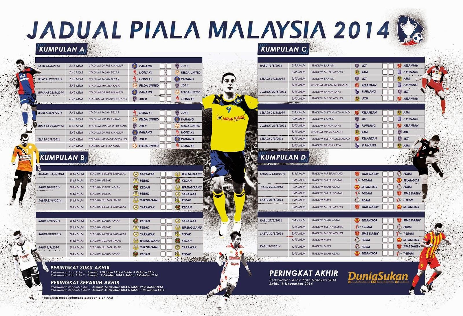 Jadual Penuh Perlawanan Piala Malaysia 2014