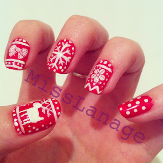 winter jumper nail art