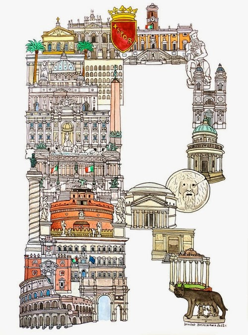 18-R-Rome-Italy-Hugo-Yoshikawa-Illustrated-Architectural-Alphabet-City-Typography-www-designstack-co