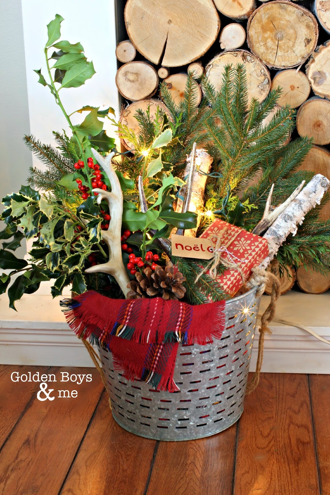 Holly and birch with antlers and plaid in an olive bucket - Christmas decor-www.goldenboysandme.com