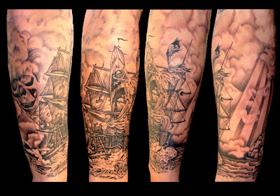 Leg Ship Tattoo - Navio Tatuagem - Tatuaje