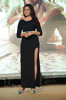 Actress Madhu Shalini Picture Gallery in Black Long Dress at Satya 2 Movie Audio Release Function 0050