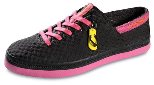 Tênis Havaianas preto com rosa