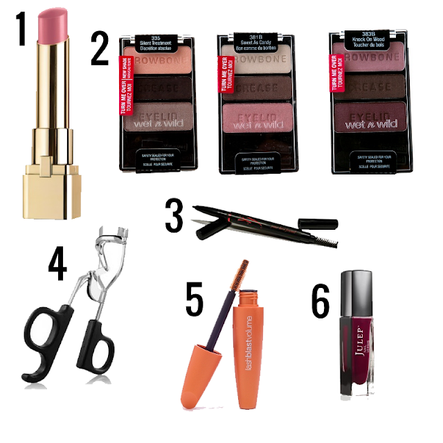 l'oreal colour riche, wet 'n wild color icon eyeshadow, elf eyelash curler, ybf brow pencil, cover girl lash blast volume, julep keira