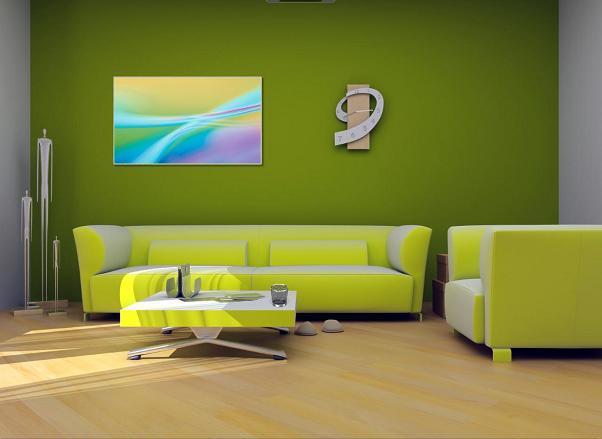 Green Living Room Interior Design Home Office Decoration