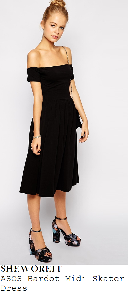 catherine-tyldesley-black-off-shoulder-pleated-bow-midi-dress-carolynne-poole