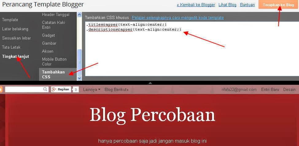 Membuat Judul dan Deskripsi Blog di Tengah Header