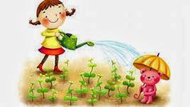 Картинки по запросу нарисованная картинка поливают грядки на участке детского сада