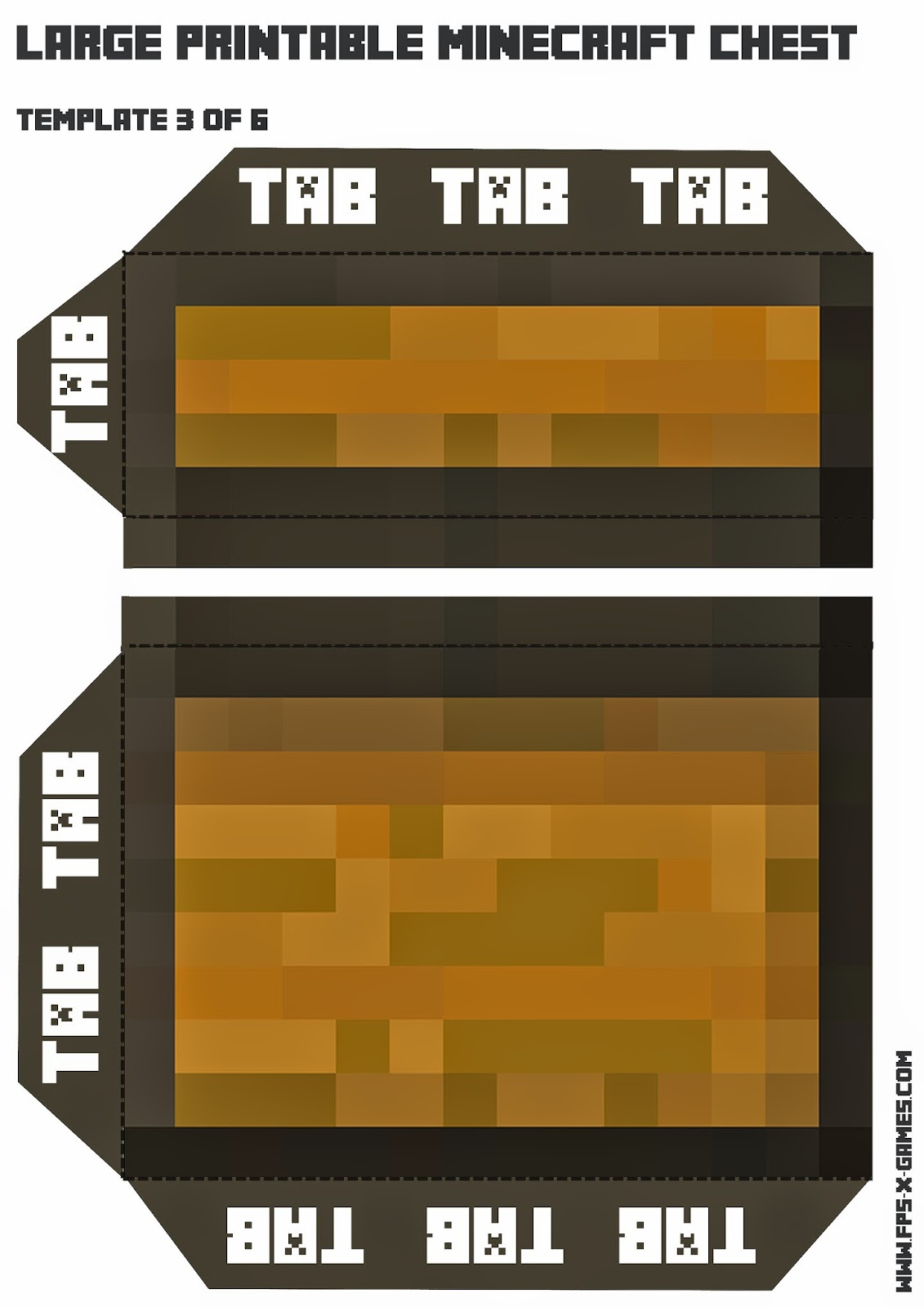 Create your own large Minecraft chest, template 3 of 6