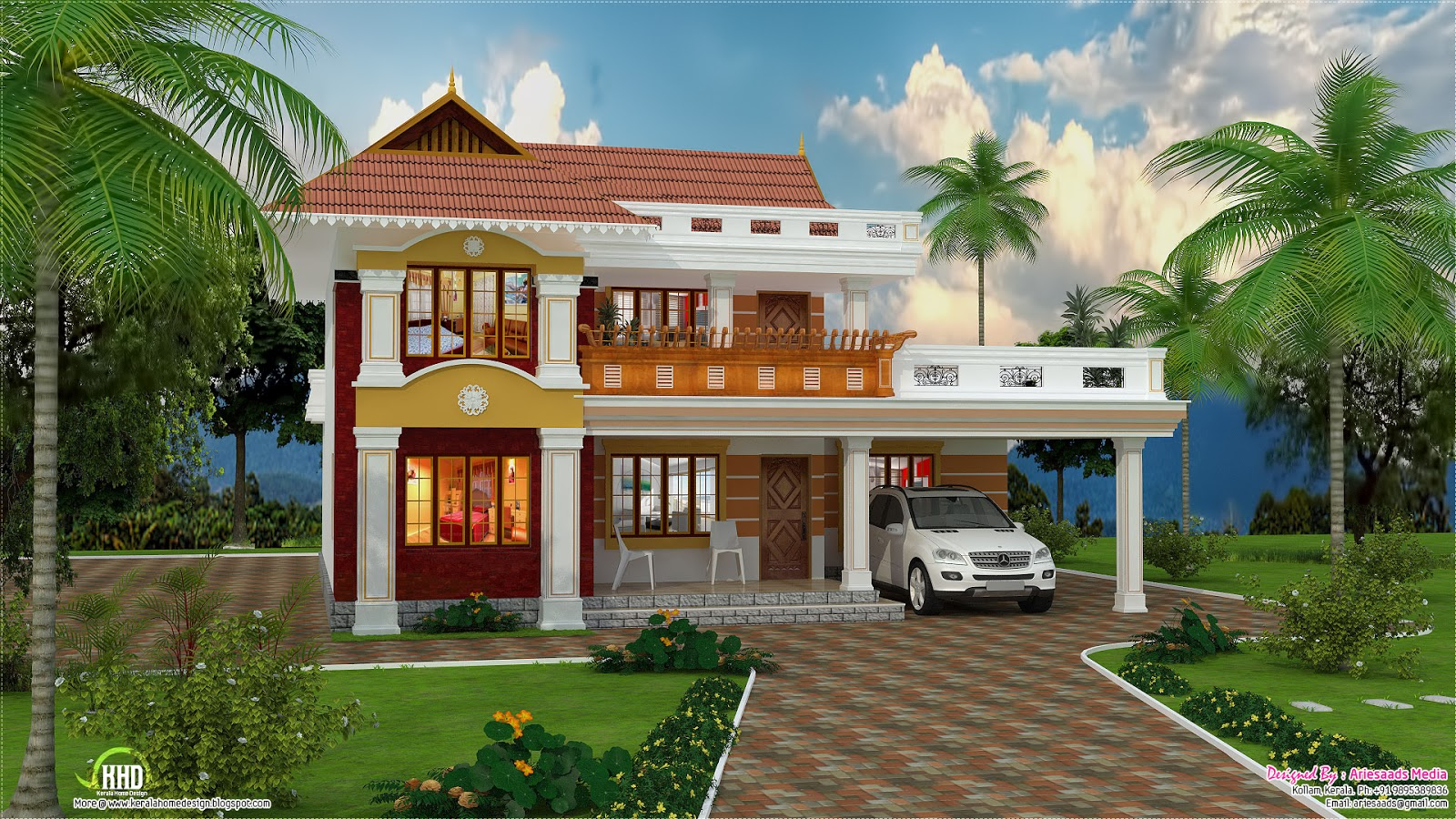 2700 beautiful villa design kerala home design for Beautiful home front design