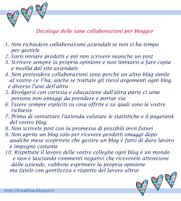"Decalogo ""come collaborare"" per blogger"