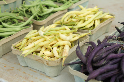 green beans, yellow green beans, purple green beans