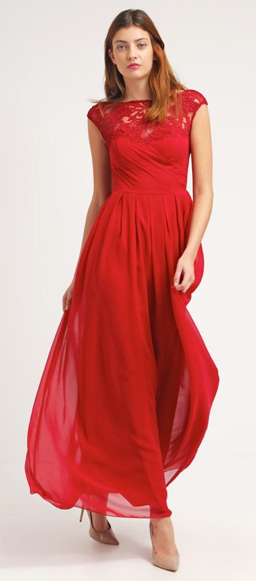 Robe de cocktail rouge longue Chi Chi London