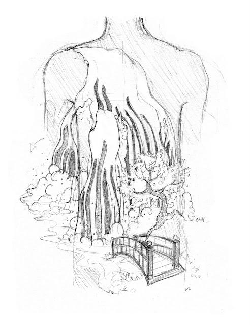 Japanese Waterfall Tattoo (Sketch)