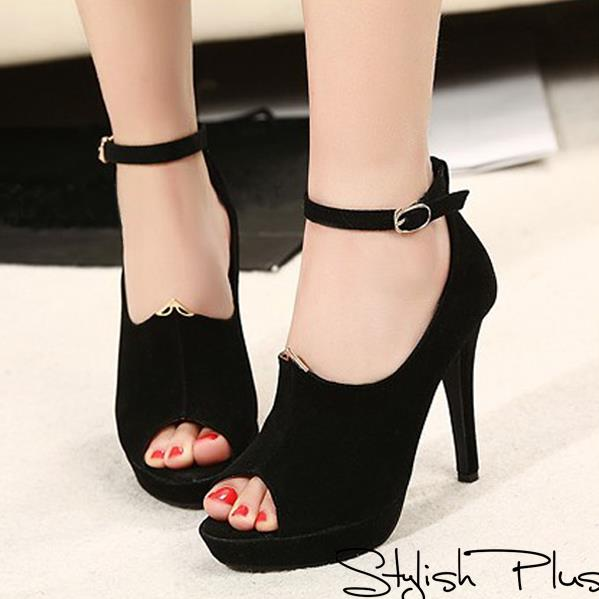 High heel black sandals with red nail polish for ladies Fun and ...