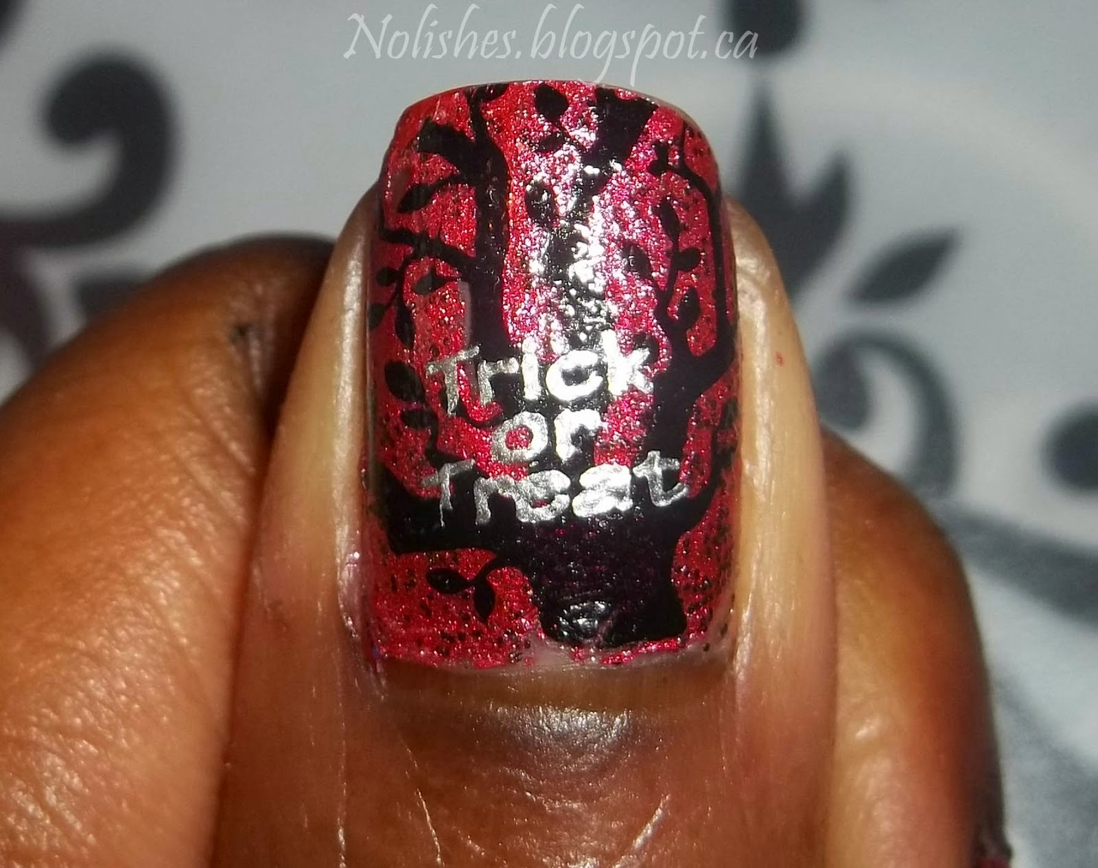 Halloween Themed Nail Stamping Test Mani, using Bunny Nails Stamping Plates BuNa-A, and HD-C. Polishes Used: China Glaze 'I Love Your Guts', Sally Hansen 'Silver Sweep', and Konad special polish in 'Black'.