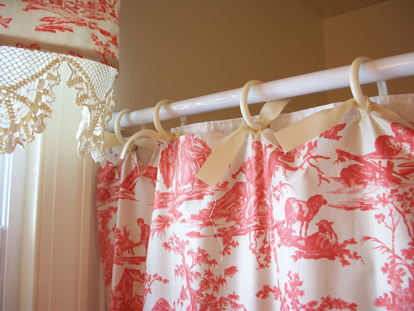 Retrospect: Red Toile Shower Curtain and Matching Valance
