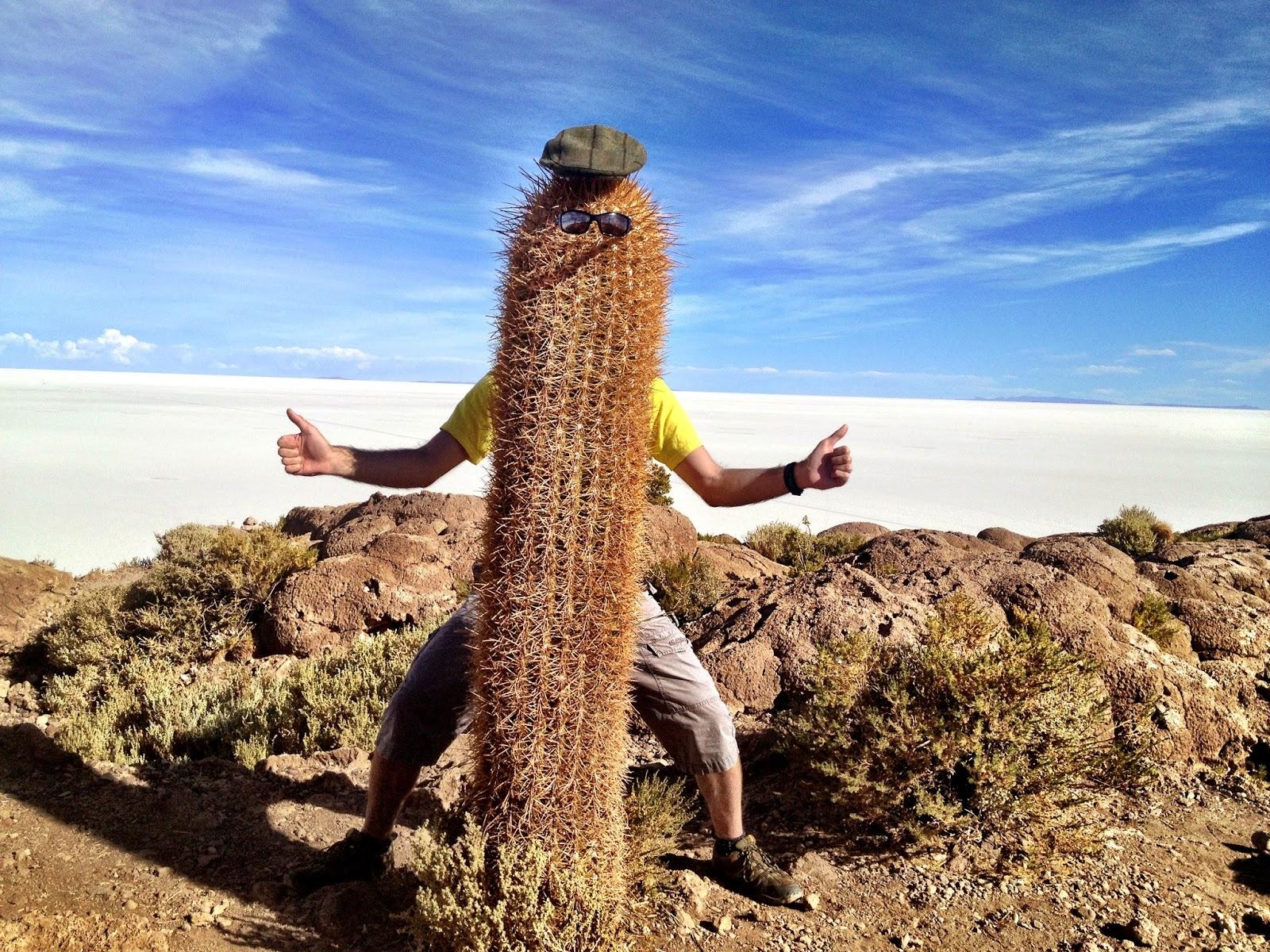 Simon as Mr Cactus? Incahusi Island - Salar de Uyuni