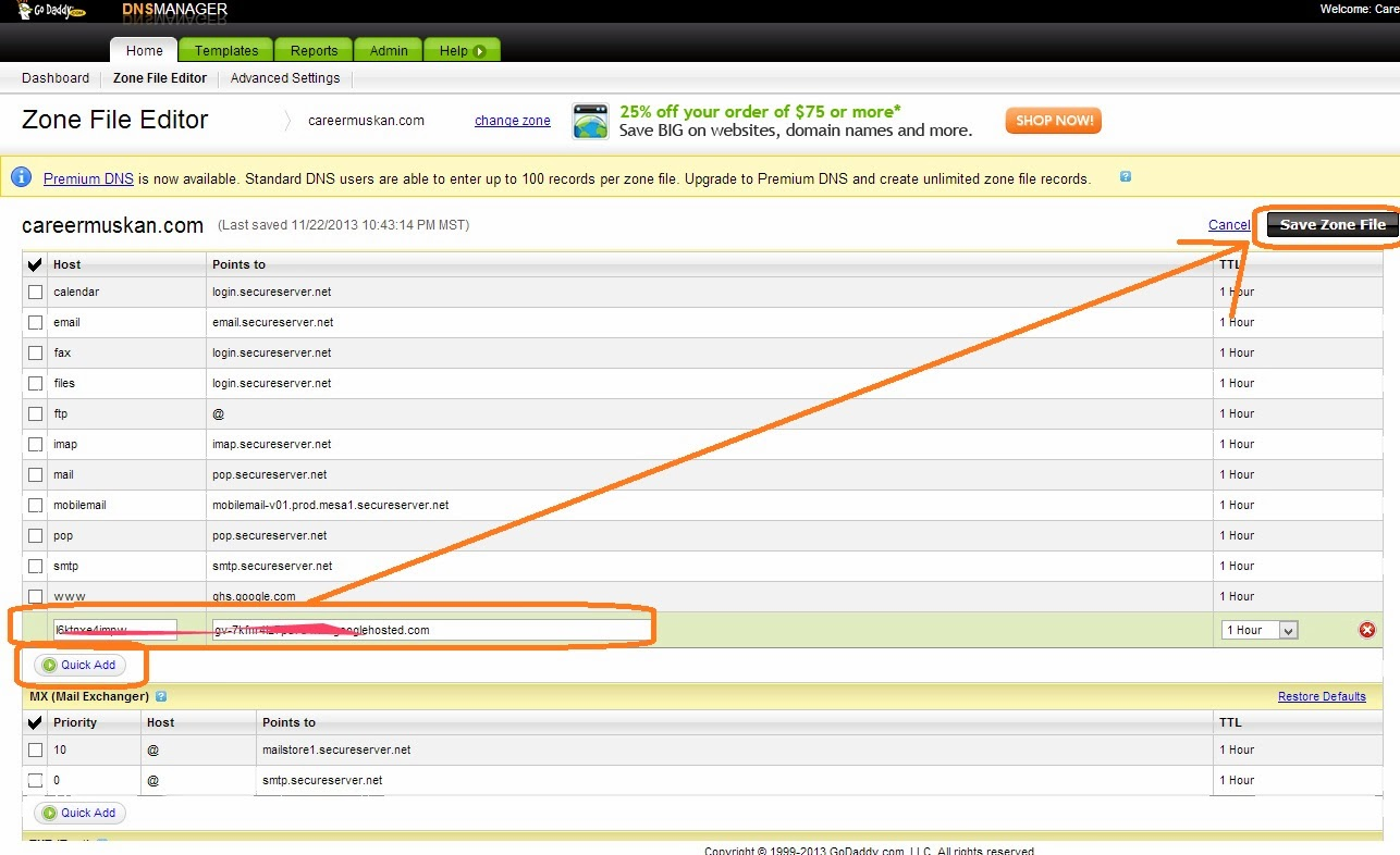 godaddy how to add a record with other url