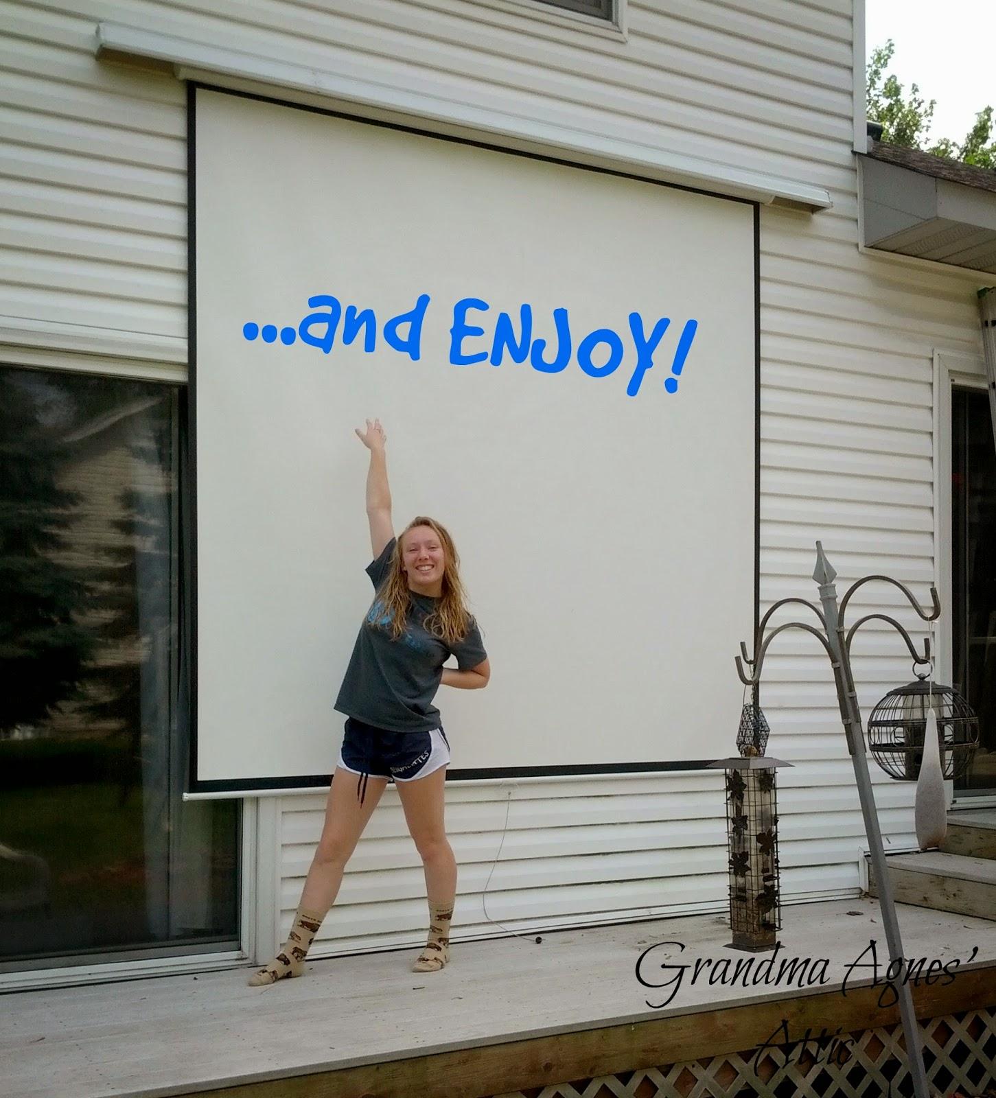 grandma agnes 39 attic outdoor movie screen in your own backyard