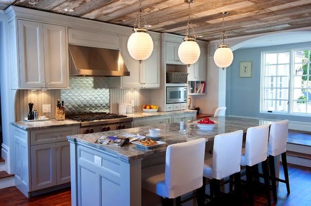 beautiful white and blue kitchen modern orb pendant lighting